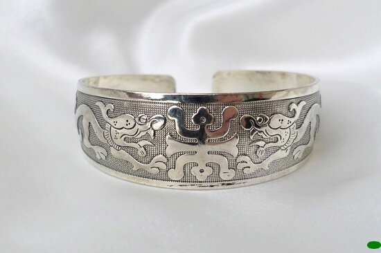 Bracelet Tibétain Rigide Motif Tribal Dragons Ajustable Unisexe Argent du Tibet