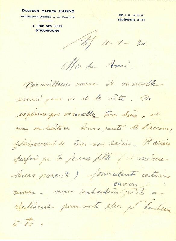 1930 01 10 lettre Dr Hanns page 1 - Copie