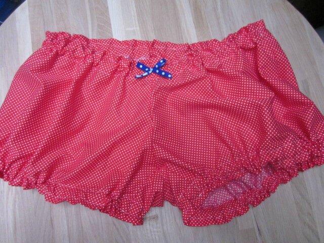Culotte BIANCA en coton rouge à points blancs - noeud bleu à pois blancs (3)