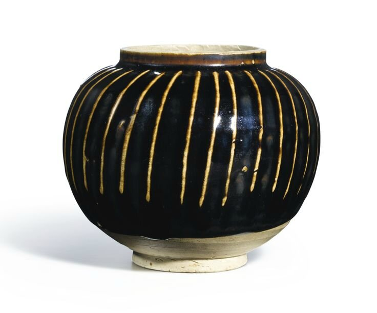 A black-glazed and ribbed jar, Northern Song-Jin Dynasty