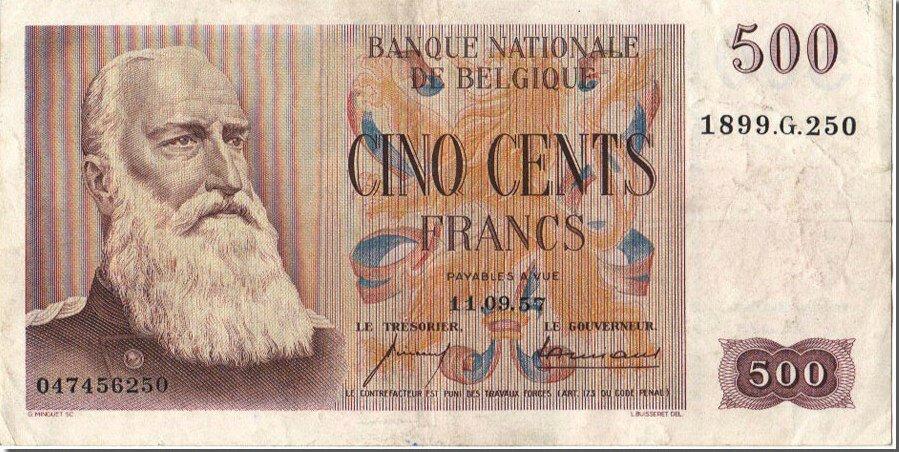 1957 500francs recto Leopold II 1835-1909 - 2e roi des Belges