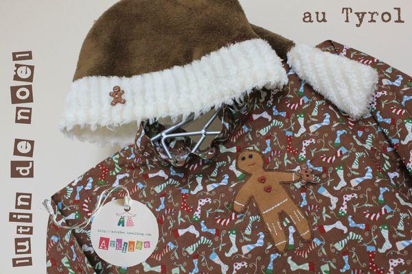Lutin Noël Tyrol gros plan bonnet et blouse