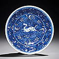 A small blue and white 'galloping horse' dish, kangxi six-character mark within double circles and of the period (1662-1722)