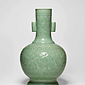 A large celadon relief-decorated floral vase, 18th-19th century