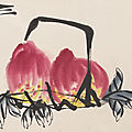 Qi baishi (1864-1957), peaches and dragonfly