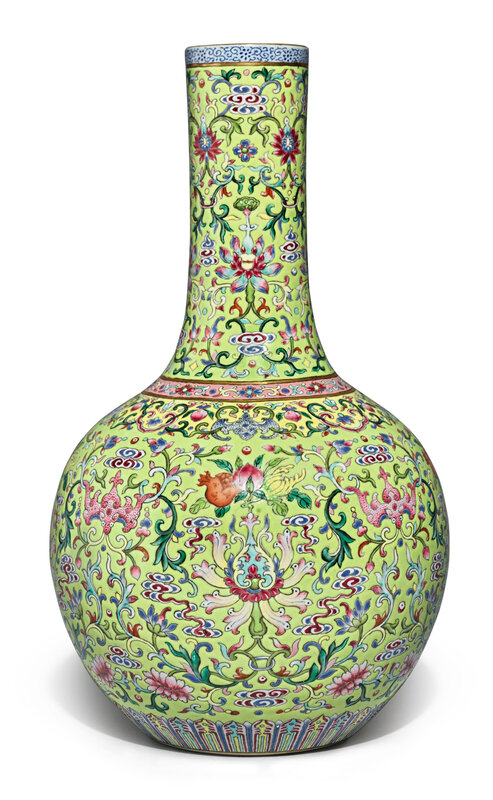 A famille-rose lime-green ground'Floral' bottle vase, Jiaqing seal mark and period (1796-1820)