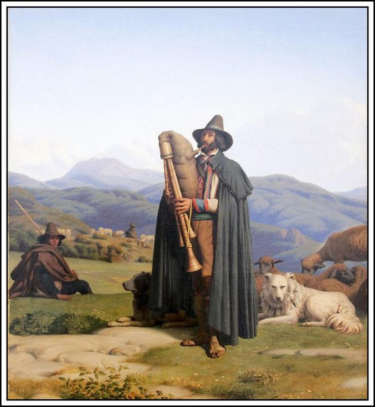 Guillaume Bodinier - berger jouant de la cornemuse (1846)