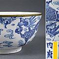 Bol en porcelaine dite Bleu de Huê, Nei Fu-Nội phủ 内府, Chine pour le Vietnam, Dynastie Qing et Dynastie Nguyên, Epoque XIXe siècle