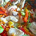 Wok de poulet sauce sucrée et nouilles sautées