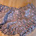 Culotet BIANCA en coton gris à pois rose - noeud de mousseline rose (2)