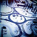 Paysage urbain sous la neige - rond point