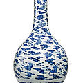 A blue and white 'bat and cloud' bottle vase, qing dynasty, qianlong period (1736-1795)