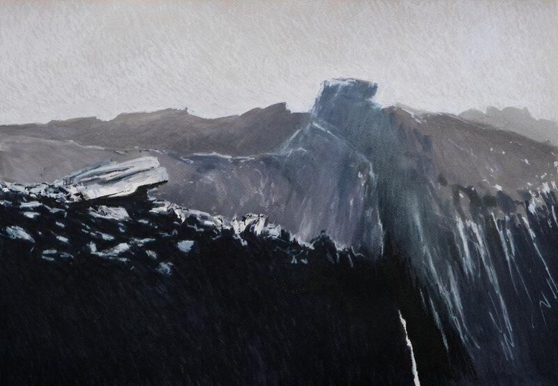 OUeSSANT les gris de pern modifié,, feutre-aquarelle, 51 x 36 cm, décembre 2020