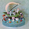 Gateau d' anniversaire (chien) les potes avec fee, licorne ailee, sirene, bateau ........