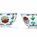 A fine and rare pair of doucai 'lingzhi' cups, chenghua six-character marks, yongzheng period (1723-1735)