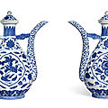 A rare pair of ming-style blue and white ewers and covers, seal marks and period of qianlong