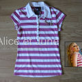 Abbey Dawn Tee Striped Lurex Polo Pink