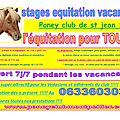 Poney club de st jean!!!! l equitation pour tous !!!! vive les vacances !!!!