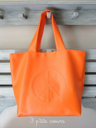 Cabas simili orange peace