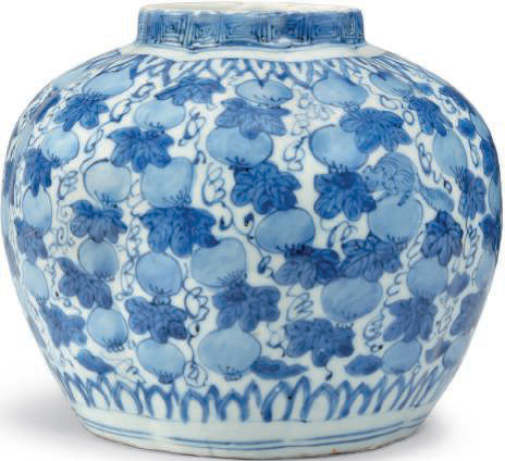 A blue and white 'Squirrel and vine' melon-shaped jar, Wanli period (1573-1619)