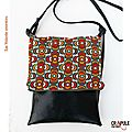 Sac besace rabat zip vintage original simili cuir noir motifs fleurs seventies pop orange rouge marron