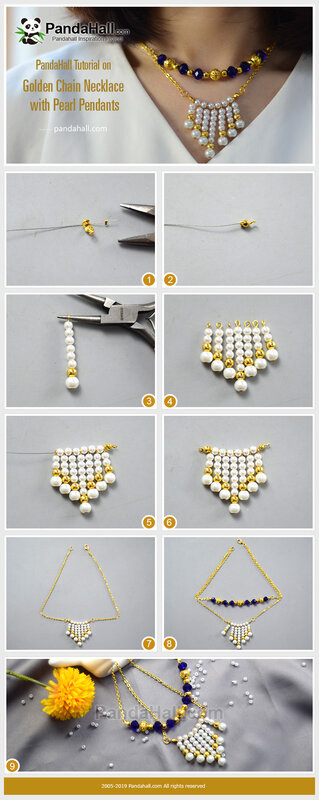 4-PandaHall-Tutorial-on-Golden-Chain-Necklace-with-Pearl-Pendants
