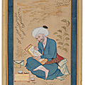 Portrait of the artist reza 'abbasi by mu'in musavvir, isfahan, iran, signed and dated 5 safar ah 1087/19 april 1676 ad