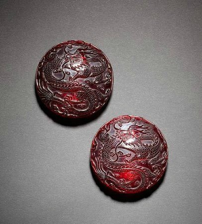 A pair of ruby red glass boxes and covers. © 2002-2010 Bonhams 1793 Ltd