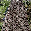 Robe trapèze 6 ans fleurie prune