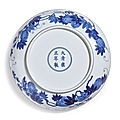 A blue and white 'melon' dish, yongzheng mark and period (1723-1735)