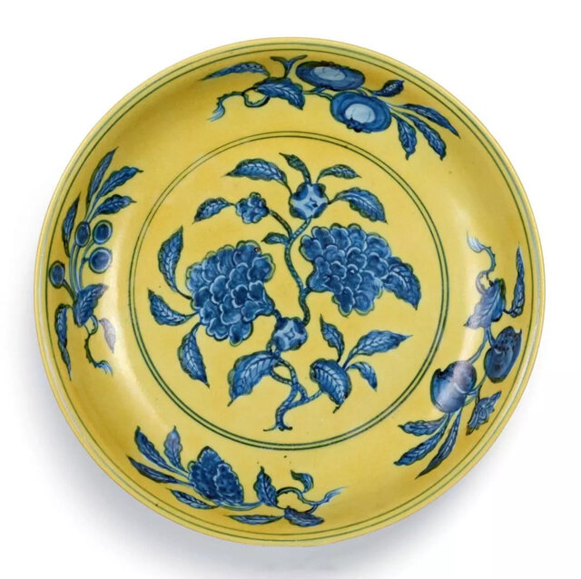 A superb and rare yellow-ground underglaze-blue 'pomegranate' dish, mark and period of Zhengde