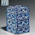 A three-tiered blue and white square box and cover, wanli six-character marks and of the period (1573-1619)