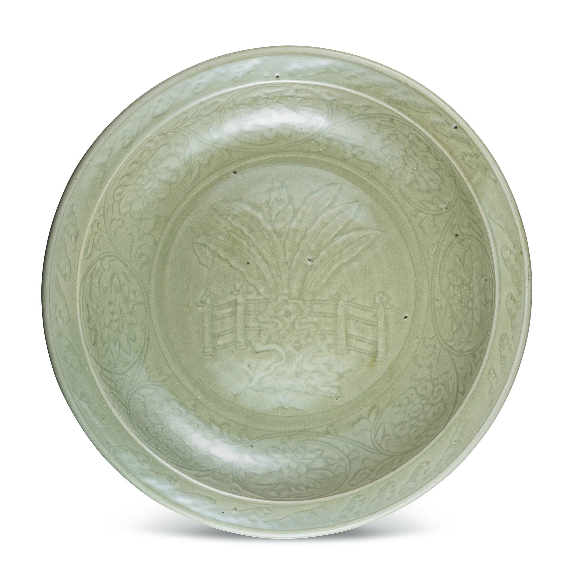 A large 'Longquan' celadon charger, Early Ming dynasty (1368-1644)