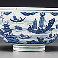 A blue and white bowl, late ming dynasty, 17th century