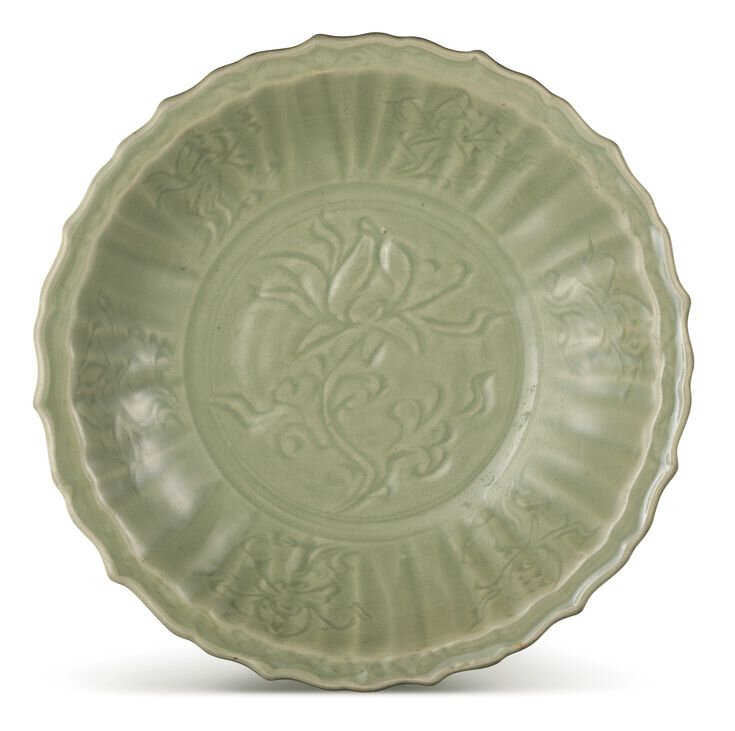 A large Longquan celadon lobed dish, Yuan – Early Ming dynasty