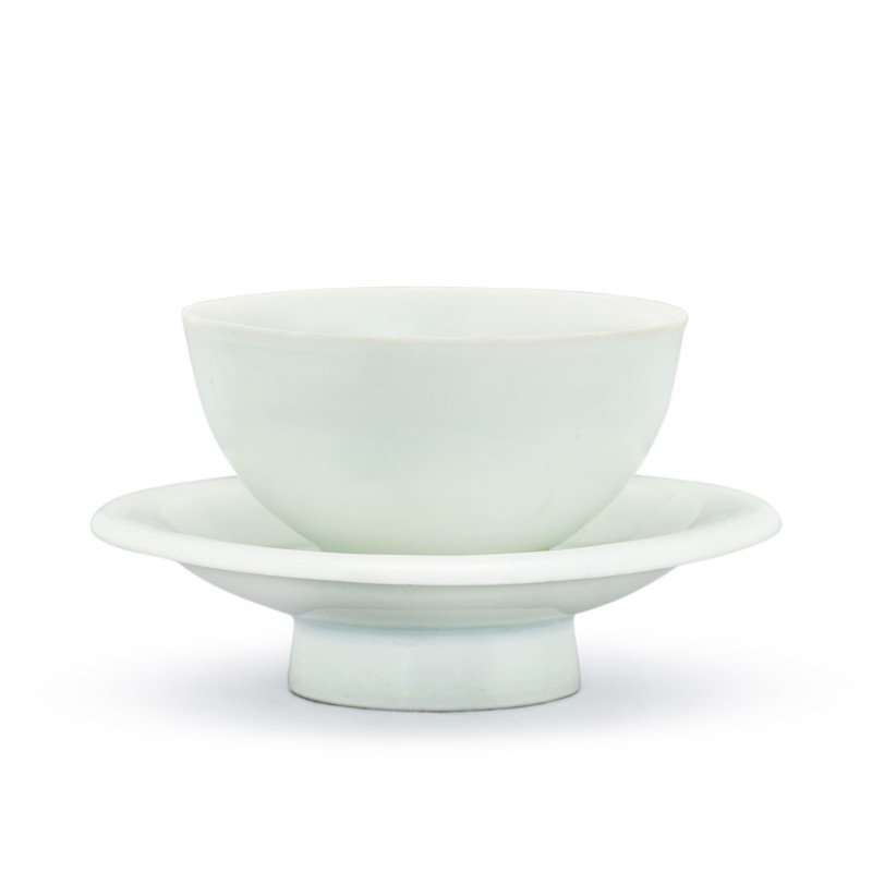 A Hutian qingbai cup and stand Song dynasty