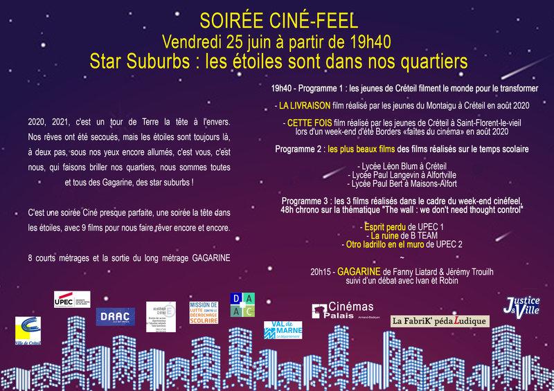 tract de la soirée Cinéfeel aux Cinémas du Palais vendredi 25 juin à 19h30