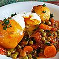 Mijoté de petits pois- carottes- pommes de terre aux œufs mollets