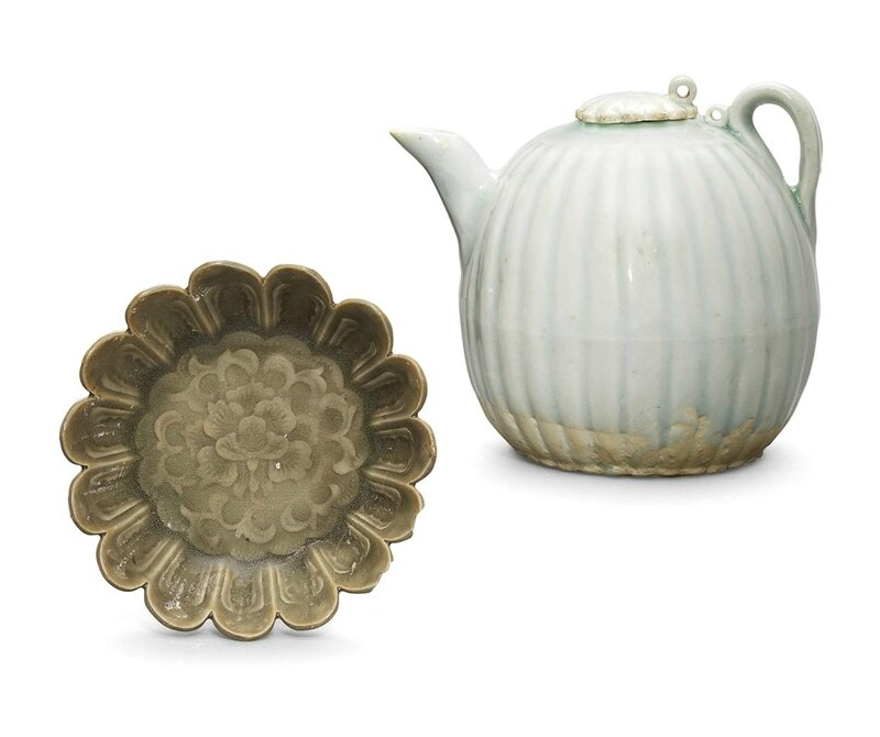 A moulded Yaozhou celadon chrysanthemum-shaped dish and a Qingbai lobed ewer, Northern Song dynasty and Southern Song dynasty