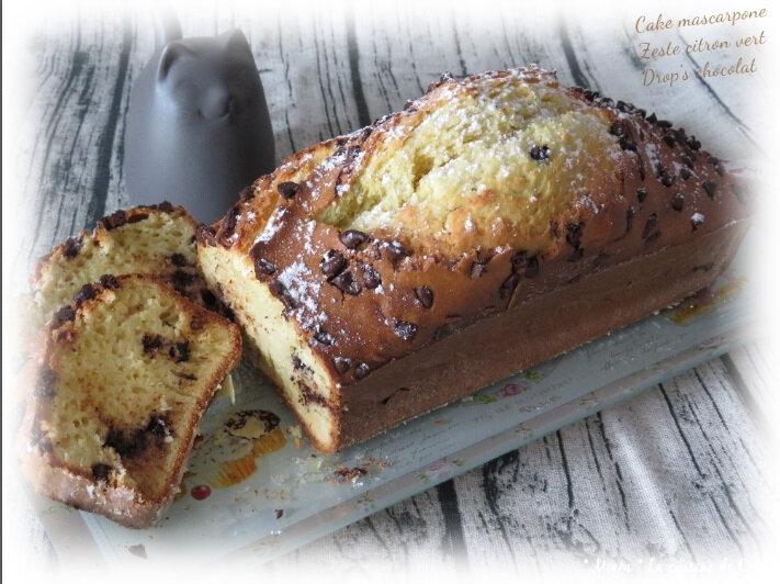 """ღ """" Miam """" Cake mascarpone- Drops de chocolat et zeste de citron vert"""