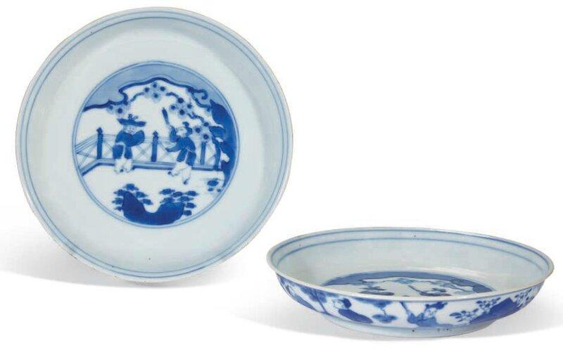 Paire de coupes en porcelaine bleu blanc, Chine, dynastie Qing, époque Kangxi (1662-1722)