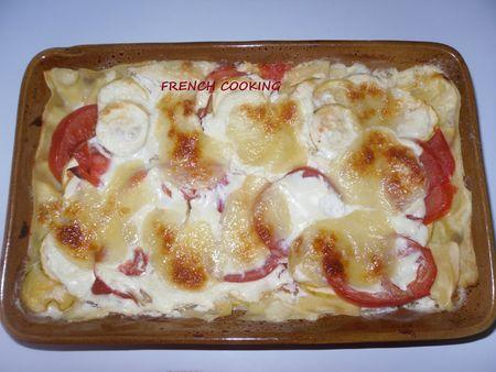 lasagne tomates, courgette et sa crème de chèvre