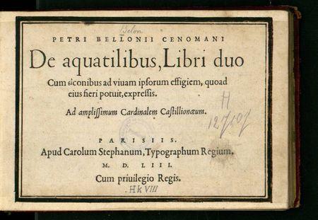 entete livre de Pierre Belon De Aquatilibus 1563