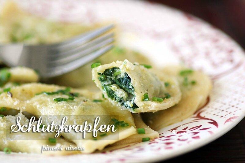 Schlutzkrapfen, ravioli aux épinards-spinach ravioli