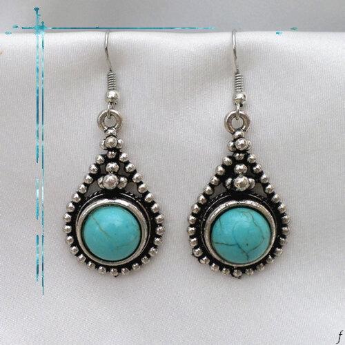 Boucles D'Oreilles Tibétaines Juna Goutte Ciselé Perle Turquoise Argent Du Tibet