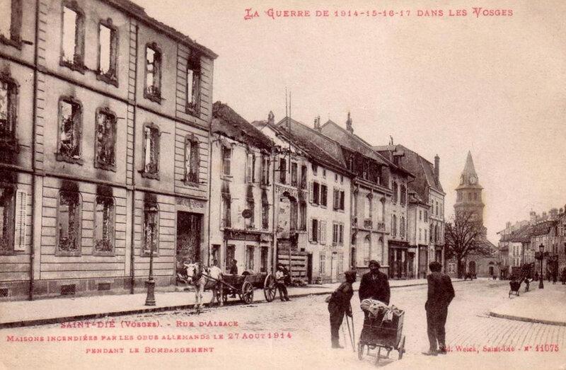 Saint-Dié, rue d'Alsace bombardée