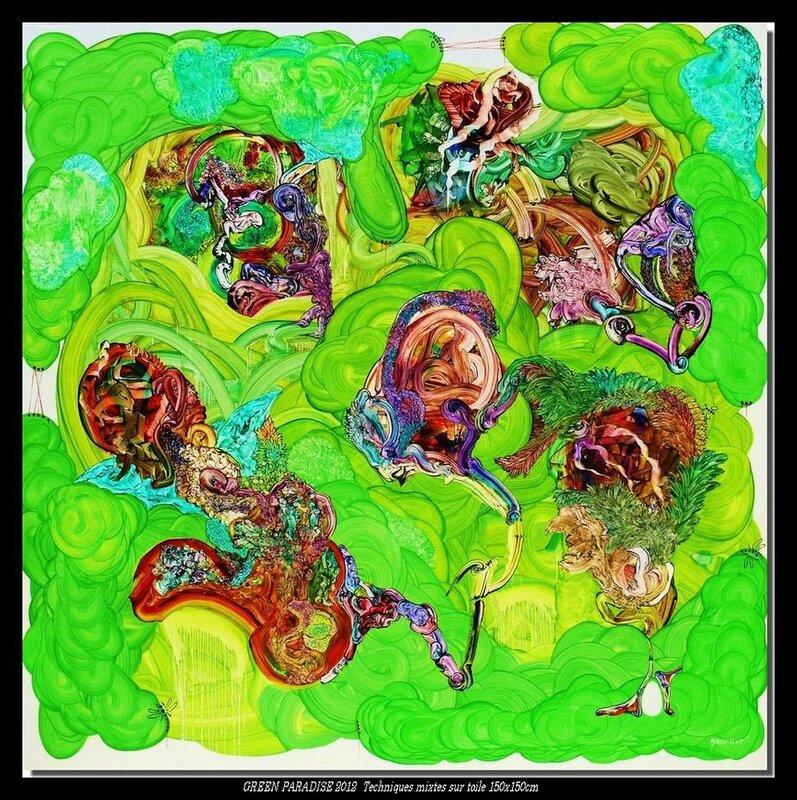 GREEN PARADISE 2012 Techniques mixtes sur toile 150x150cm