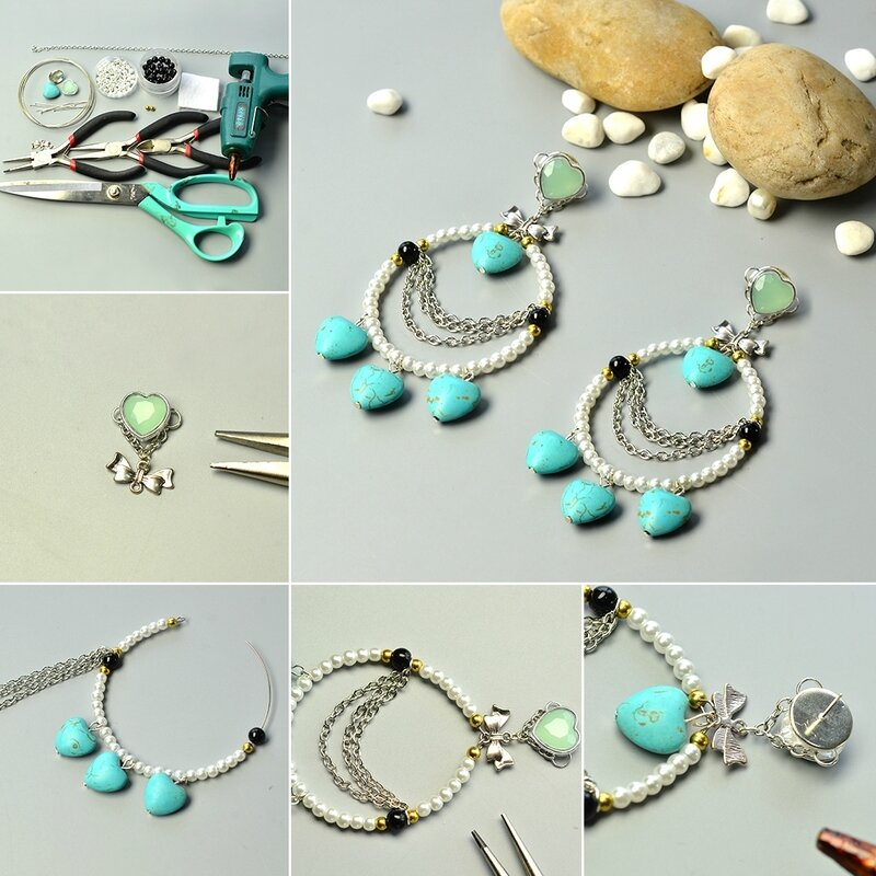 1080-Pandahall-Tutorial-on-How-to-Make-Simple-Heart-Turquoise-and-Pearl-Hoop-Earrings