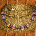 Collier FIMO rayé orange chocolat beige n° 2 (N)