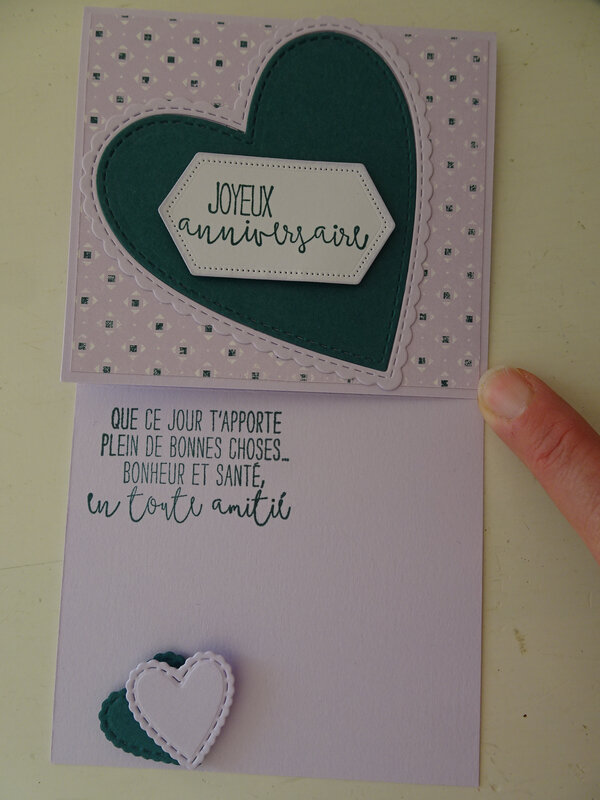 21b Carte chevalet Coeurs couture